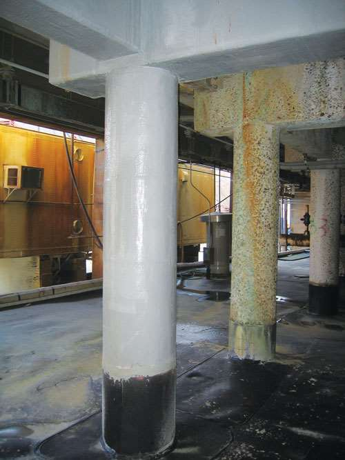 Corrosion Damaged Cellhouse Column, and colum wrapped in FRP by QuakeWrap