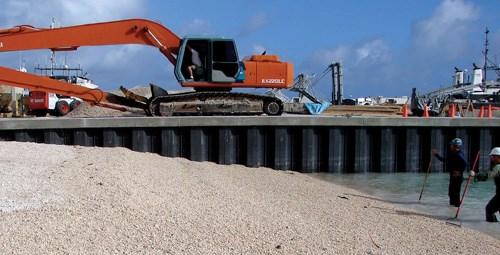 Concrete-decked seawall