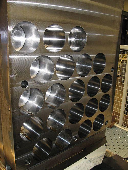 4-inch-diameter holes in workpiece