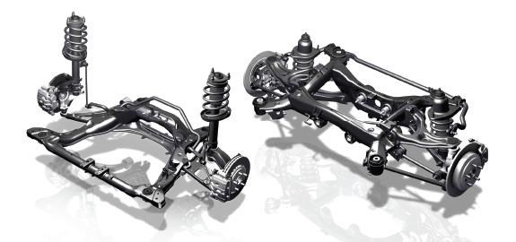 The suspension front (left) and rear (right) of the 2017 Ridgeline.