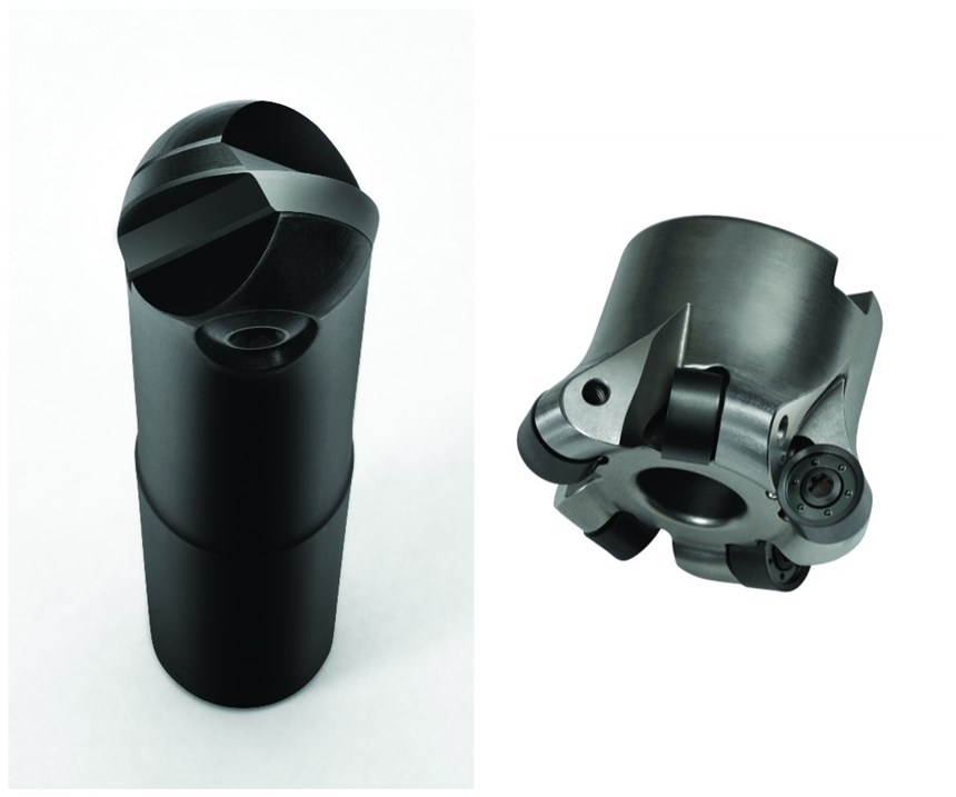double-sided ball nose finishing cutter (left) the double-sided button cutter (right)