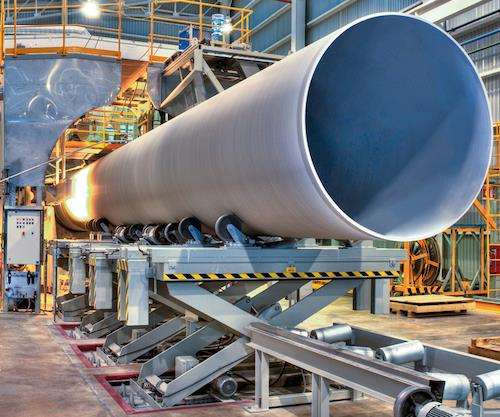 continuous winding of large pipe