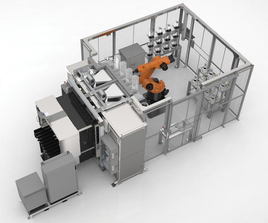 The Infinite-Build  3D system. Parts are printed in a vertical plane. The robot is used for handling the raw materials (which are in the form of pellets about the size of grains of sand that are contained in the canisters). The printing is done vertically rather than horizontally. This allows the build of extremely long components.