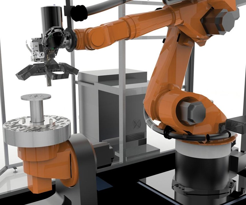 The Robotic Composite 3D system. Printing can be done in eight axes with fiber-reinforced thermoplastic. The robot moves the print head in the orientation required by the build. This is not the typical layer-by-layer approach to part production.