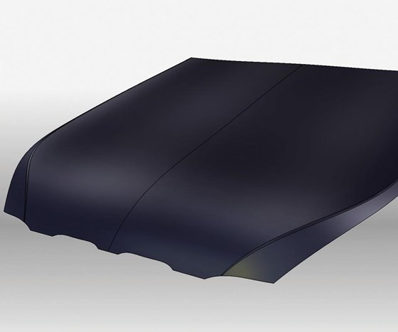 A composite part typically starts with geometry, such as this automobile hood and its CAD surfaces. The geometry is then input to FEA, where boundary conditions and loads are defined.
