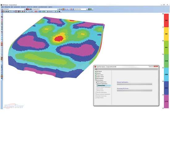 HyperSizer Express tightly couples with FEA, determining the best-performing concept (solid laminate, honeycomb, or foam sandwich), and the minimum number of plies and core material thickness that match the design and failure criteria for, as shown here, an automobile hood. This display shows the optimum number of plies—0 degree carbon fiber weave plies—to meet all strength requirements for multiple load cases applied to the hood.