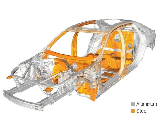 The body structure of the CT6. There are 11 different materials used in the aluminum-intensive architecture.