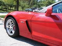 Close-up of carbon fiber fender in place on the 2006 Corvette Z06