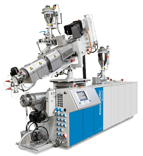 Conical twin-screw extrusion system for window profiles from Berstorff.
