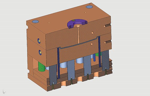 cross section of assembled mold