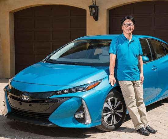 Koji Toyoshima, Prius Prime chief engineer. He is also the chief engineer for the 2016 Prius Liftback. Toyoshima says he's been working on Prius models for five years. He's been a Prius owner for 10. What did he benchmark for the Prime? He says that he looked at things like the Mazda3 and the Ford Fusion as cars, not hybrids. And he looked at  electric vehicles, too, including the BMW i3.