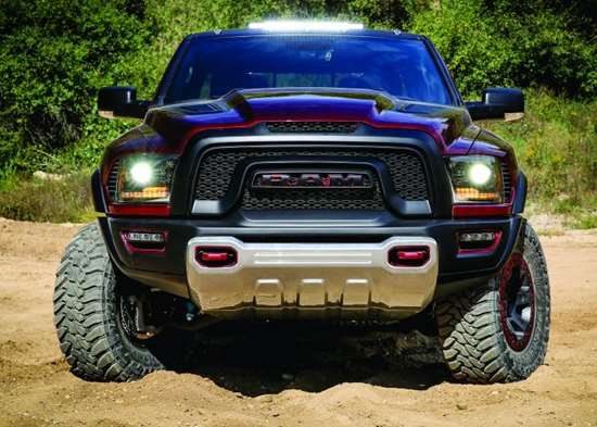 The Rebel TRX concept is based on a Ram 1500 with some serious modifications both outside, inside and under the hood. This off-road racer features a 575-hp HEMI V8, a TorqueFlite 8HP70 eight-speed automatic and a 4 x 4 control system with a BorgWarner 44-45 transfer case.