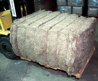 A bale of short staple hemp fiber