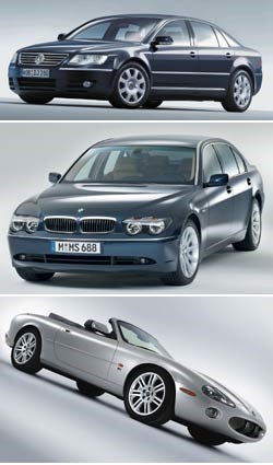 Volkswagen Phaeton, BMW 7-series, 2003 Jaguar XKR