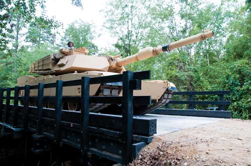 Abrams tank on bridge