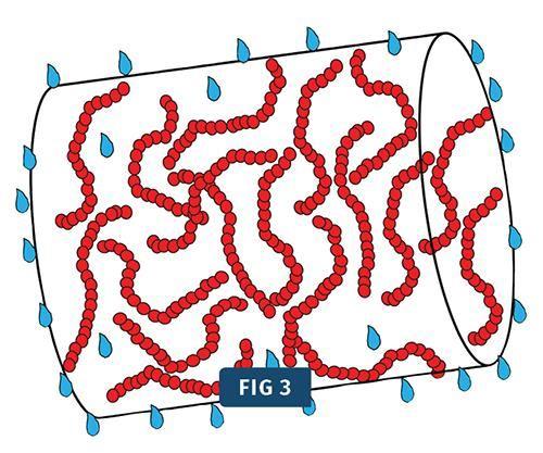 Las moléculas de agua dentro del pellet se calientan y se mueven hacia la superficie del pellet.