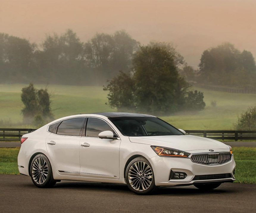 The 2017 Kia Cadenza. Note the concave version of the Kia-signature tiger-nose grille.