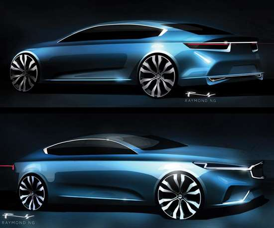 Sketches of the 2017 Cadenza by Ray Ng, principal exterior designer of the car.