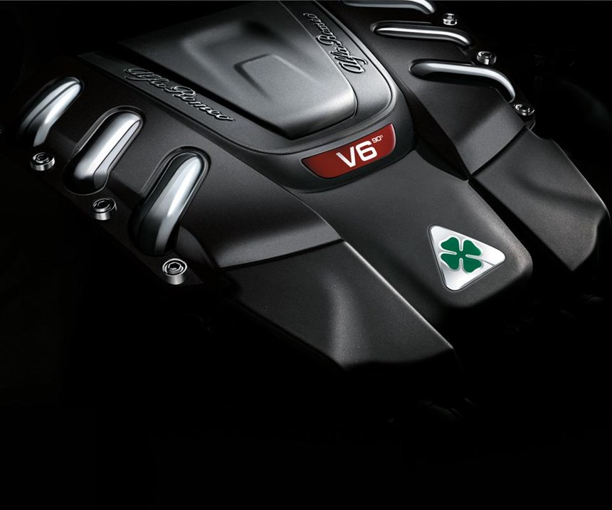 The 505-hp, direct-injection, 2.9-liter bi-turbo V6 that powers the Quadrifoglio. This engine was developed along with help from Ferrari powertrain engineers. It has all-aluminum construction. The engine is built in a plant in Termoli, Italy.