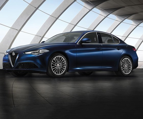 "The 2017 Giulia. The vehicle is based on a new architecture—""Giorgio""—and is meant to compete in the premium mid-size sedan segment."
