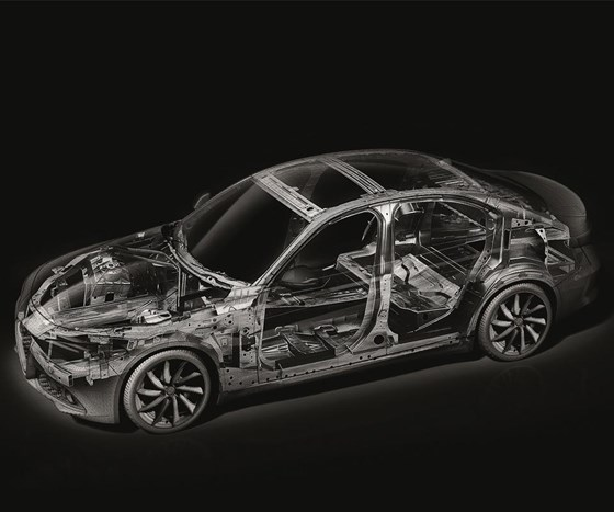 The underlying structure of the Giulia. The vehicle brings together steel, aluminum, carbon fiber composites and plastics. The vehicle received the EuroCarBody 2016 award from Automotive Circle International, besting competitors including the Acura NSX, Volvo V90, Bentley Bentayga and Aston Martin DB 11. The car scored 39.46 points out of a total of 50 on criteria ranging from innovative use of materials to manufacturing processes.