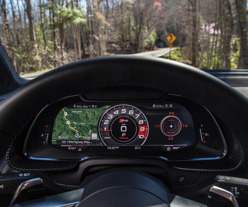 "The ""Virtual Cockpit"" in the Audi R8 V10."