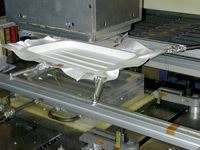 Thermoforming of suitcase shell from PURE self-reinforced polypropylene sheet.