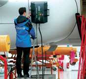Portable laser shearography is used to inspect aircraft components at Airbus Industrie (Toulouse, France).