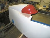 Step 7: The headrest and helmet are built up and the seams covered with body filler.