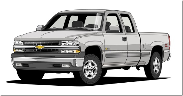 "1999 Silverado 1500 LT Z71 – An evolution of the ""aerodynamic influenced"" design with muscular shapes added."