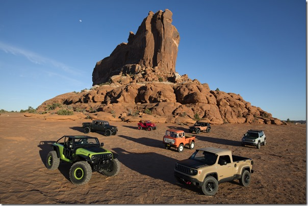2016 Moab Easter Jeep® Safari concepts (from left to right): Jeep® Trailcat Concept, Jeep® Crew Chief 715 Concept, Jeep® Shortcut Concept, Jeep® FC 150 Heritage Vehicle, Jeep® Trailstorm Concept, Jeep® Comanche Concept, Jeep® Renegade Commander Concept.