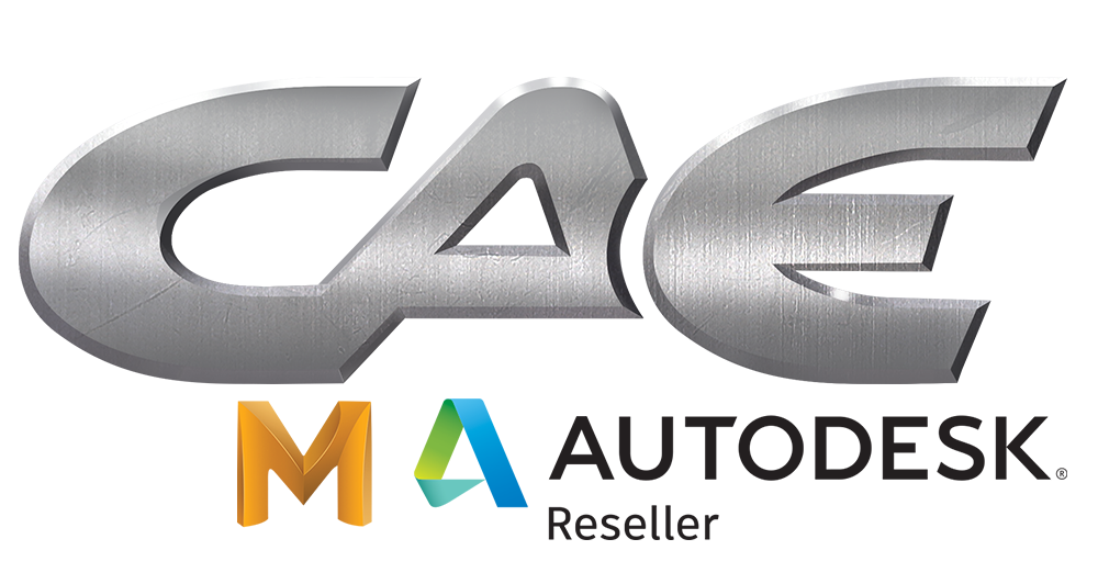 CAE logo with Maya and Autodesk logos