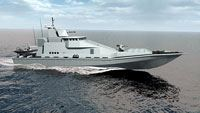 British shipbuilder Vosper Thornycroft has designed a predominantly glass-fiber-composite Fast Response Boat for littoral missions.