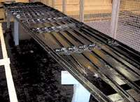 JAMCO's pultruded carbon fiber/epoxy stringers are show here after assembly with skin panels for an Airbus vertical tail.