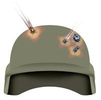 A helmet made with Spectra Shield® Plus material stops a 9 mm round and defeats a fragmentation simulator.