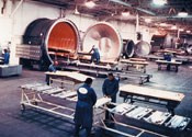 Step 7: After layup and bagging, parts are placed in one of seven Thermal Equipment Corp. autoclaves.