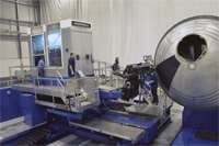 The NCAM machine is capable of fabricating the domed ends of tanks, with its cantilevered headstock option.