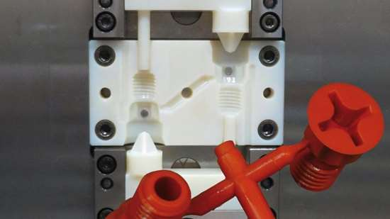 3D-printed cavity, core and slide faces within a Hasco quick-change mold system