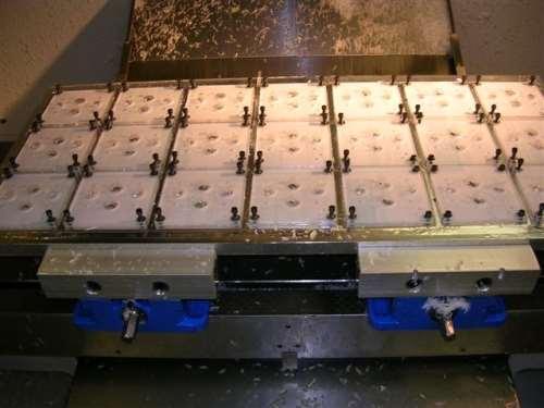 multiple parts fixtured on VMC