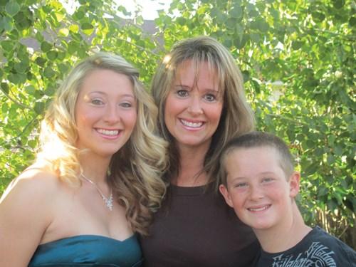 Kim Bossley with her two children, Megan and Garrett.