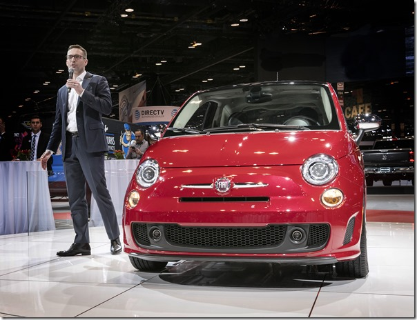 Chicago – February 8, 2018 – Matt McAlear, Senior Manager Product Development, Passenger Car Brands, FCA, introduces the 2018 Fiat 500 at the Chicago Auto Show.  The 2018 Fiat 500 lineup now comes standard with the 1.4-liter MultiAir Turbo engine, which features a single turbo charger, twin intercoolers and a sport-tuned exhaust that delivers 135 horsepower and 150 lb.-ft. of torque plus a sportier appearance.