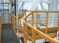 Handrails, ladders and gratings made with pultruded or molded composite materials require less maintenance and mean significantly less topside weight.
