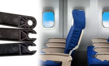 Aircraft tray-table arms of LMP Thermocomp PEI/carbon fiber from SABIC Innovative Plastics