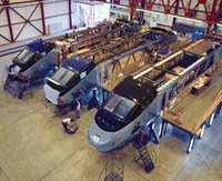Composite noses attached to Acela