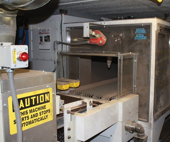 Parker Ionics helped engineer the powder system so that it slowed down to about 40 feet per minute and the shingle can accept three random applications of powder coating.