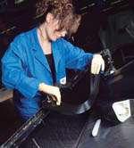 A lay-up technician stiffens the door