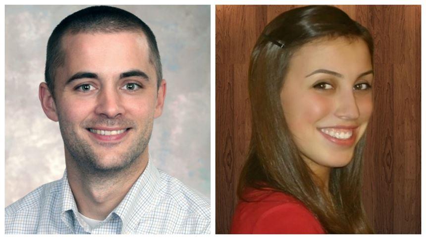 Dr. Nathan Patterson, Randy Stevens Scholarship recipient, and Jennifer Bennett, Guy E. Bourdeau Scholarship recipient