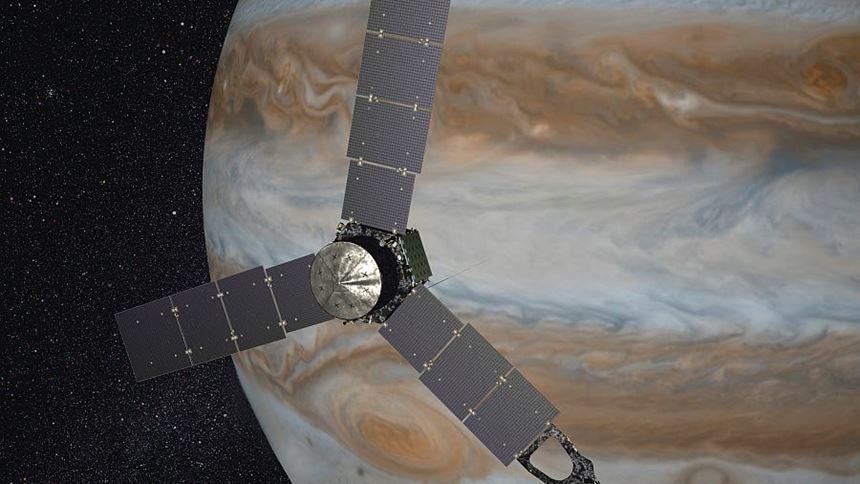Juno in front of Jupiter