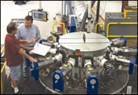 Victor Martinez at the shop's rotary transfer machine