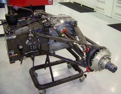 assembled gearbox/rear suspension assembly for an Andretti Autosport car